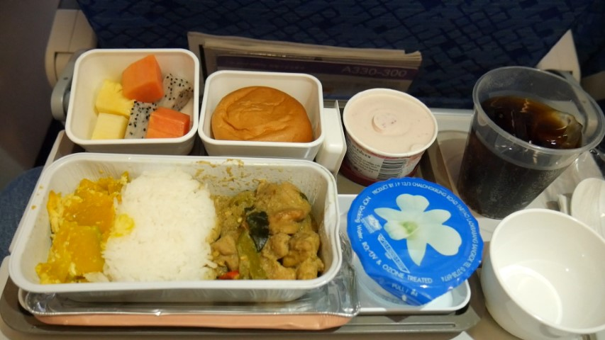 Food served on Cathay Pacific Economy Class