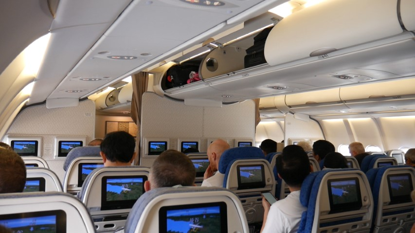 Inside Cathay Pacfic A330-300 Economy cabin