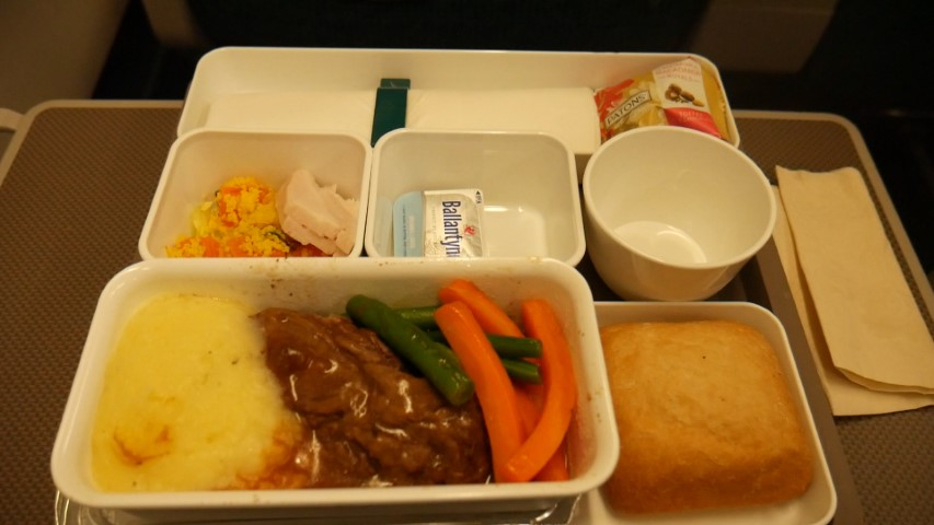 Lunch served in Premium Economy Cathay Pacific