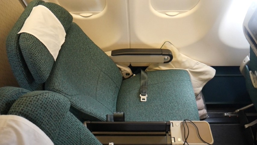 Reclined Premium Economy Seat on Cathay Pacific