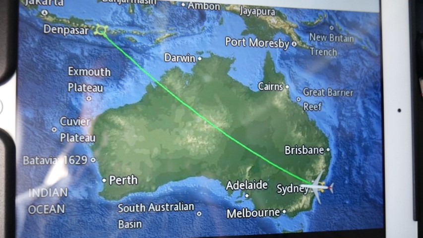 Flight map on Qantas Entertainment Unit