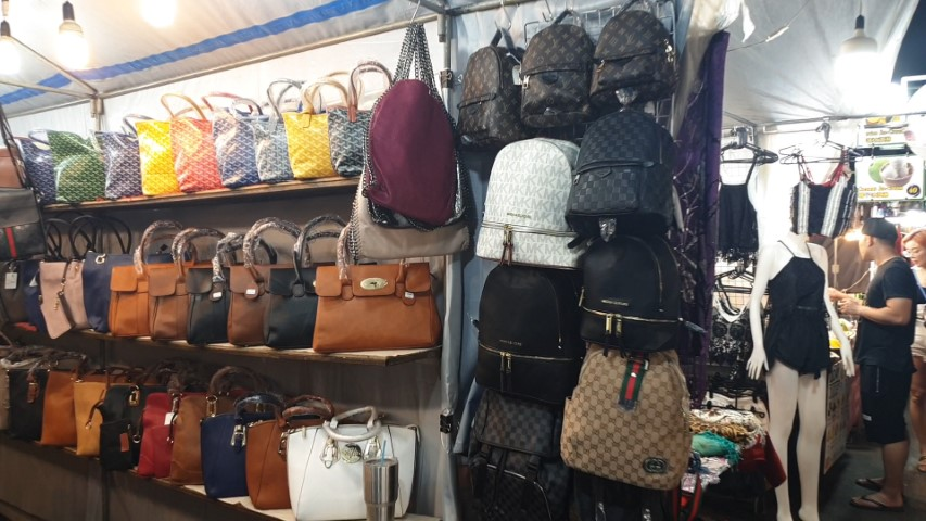 Leather bags for sale at Hua Hin Night Market