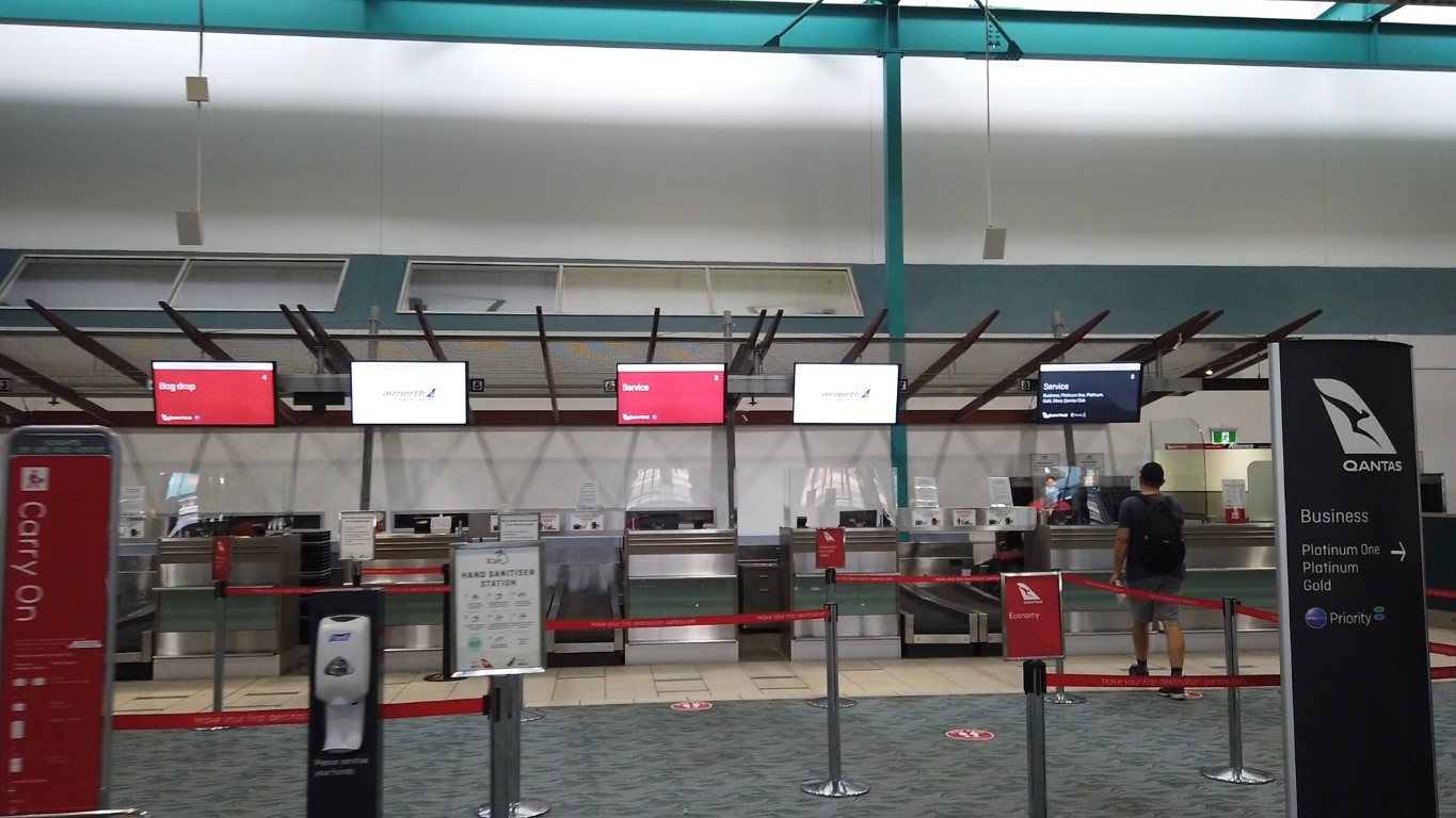 Qantas Check-in counters at Townsville Airport