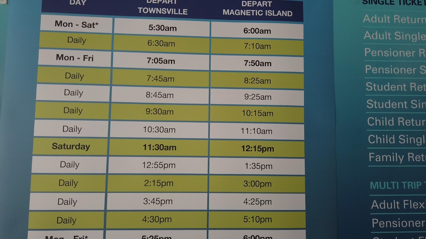 Timetable for Ferries to Magnetic Island