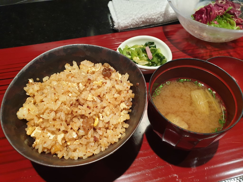 Fried rice with miso soup and pickles
