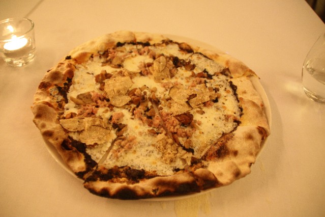 Ground beef at truffle pizza at Il Cielo Italian Restaurant Singapore