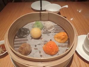 Different flavoured soup dumplings at Crystal Jade Restaurant Bangkok