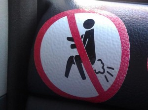 Funny sign in a taxi in Bangkok
